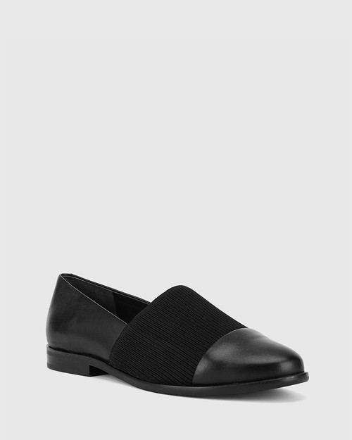 Janis Black Leather Stretch Knit Block Heel Loafer . & Wittner & Wittner Shoes