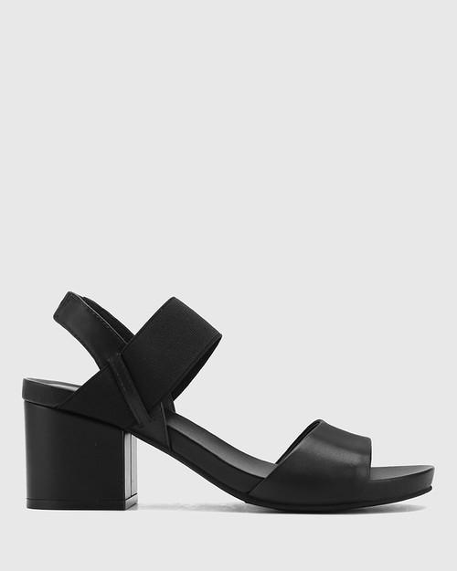 Maddox Black Leather Open Toe Block Heel Sandal. & Wittner & Wittner Shoes