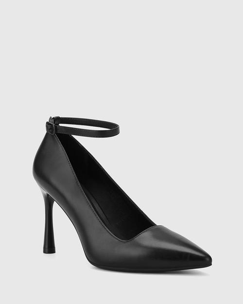 Halba Black Leather Ankle Strap Stiletto Pump.