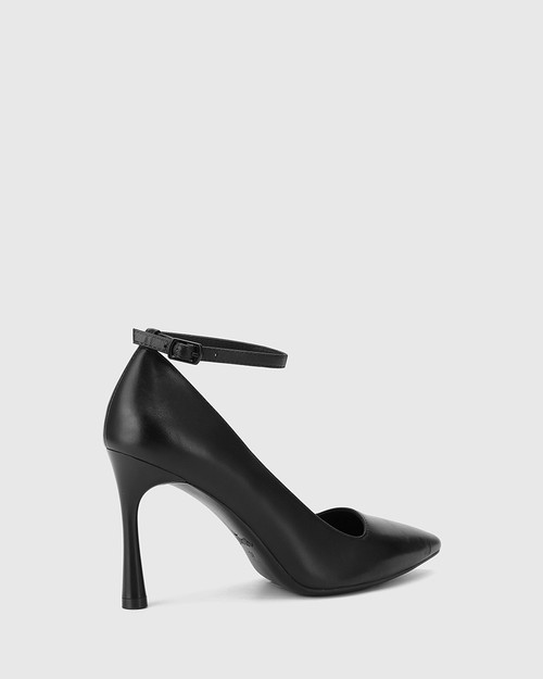 Halba Black Leather Ankle Strap Stiletto Pump. & Wittner & Wittner Shoes
