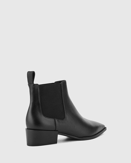 Cortez Black Leather Snib Toe Gusset Ankle Boot. & Wittner & Wittner Shoes