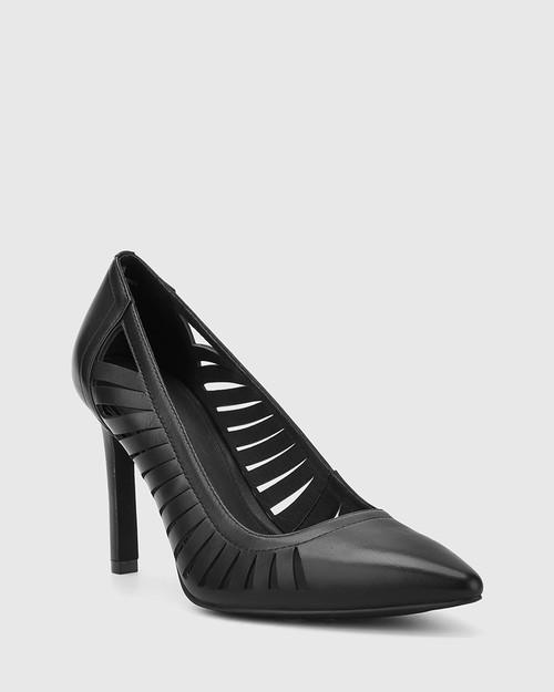 Heily Black Leather Pointed Toe Stiletto Heel.