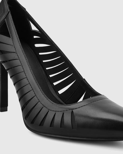 Heily Black Leather Pointed Toe Stiletto Heel. & Wittner & Wittner Shoes
