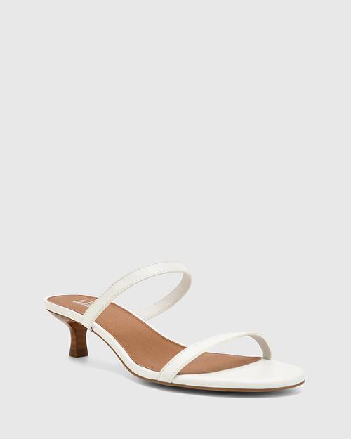 Jay White Leather Low Stiletto Sandal.