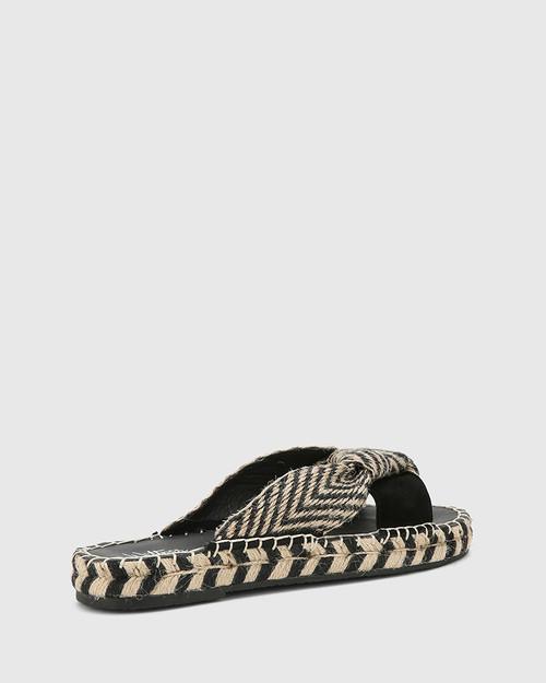 Evella Black Multi Suede And Textile Slide. & Wittner & Wittner Shoes