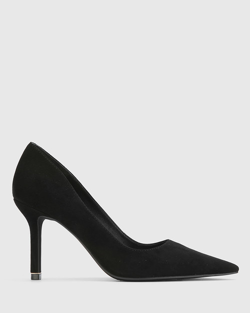 Quendra Black Suede Gold Trim Pointed Toe Pump. & Wittner & Wittner Shoes