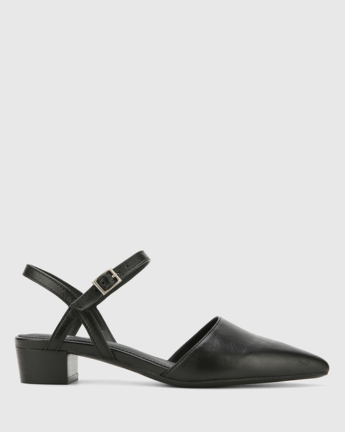Aletta Black Leather Pointed Toe Block Heel. & Wittner & Wittner Shoes
