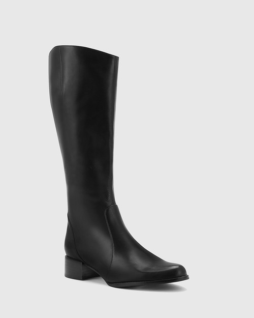 Bernia Wide Fit Black Leather Knee High Boot.