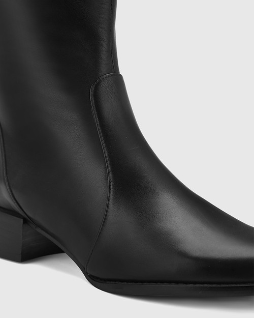 Bernia Wide Fit Black Leather Knee High Boot. & Wittner & Wittner Shoes