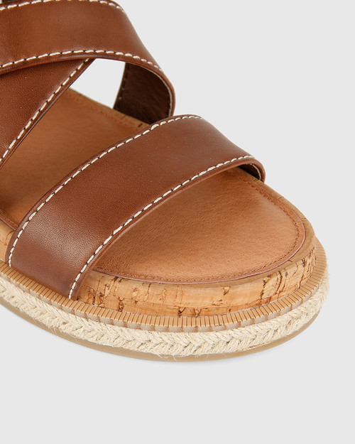 Cierra Dark Brown Leather Flat Sandal. & Wittner & Wittner Shoes