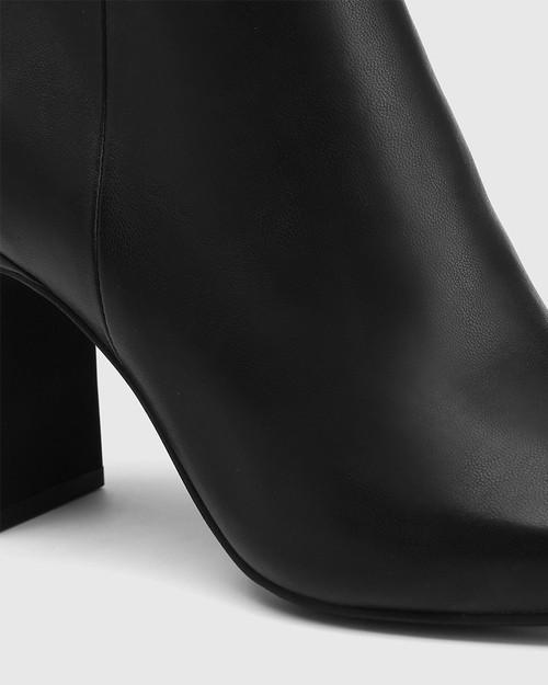 Xena Black Leather Block Heel Ankle Boot & Wittner & Wittner Shoes