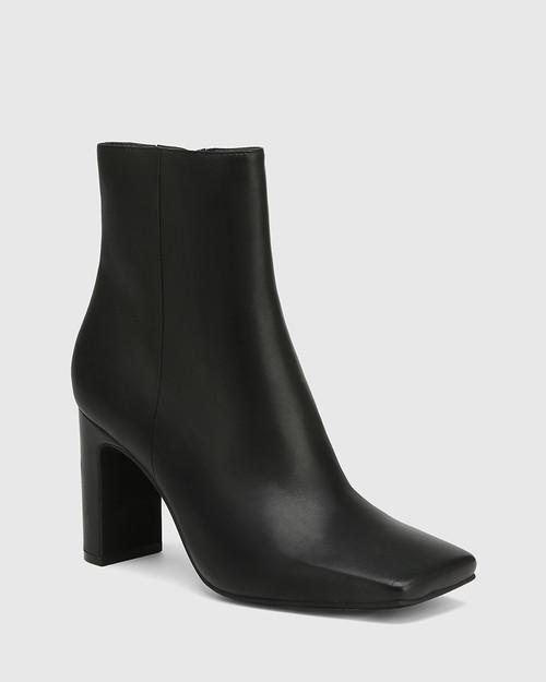 Xena Black Leather Block Heel Ankle Boot