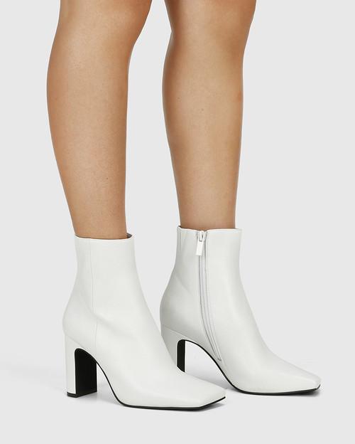 Xena White Leather Block Heel Ankle Boot & Wittner & Wittner Shoes