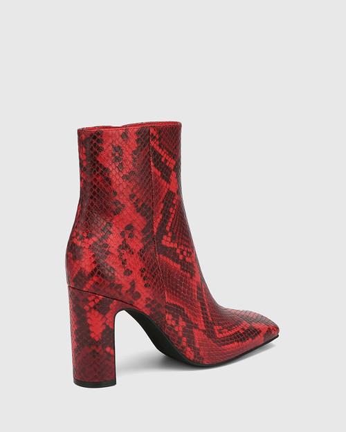 Xena Red Anaconda Leather Block Heel Ankle Boot & Wittner & Wittner Shoes