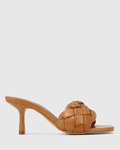 Combs Tan Woven Leather Stiletto Heel Sandal