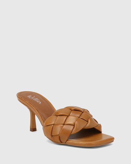 Combs Tan Woven Leather Stiletto Heel Sandal
