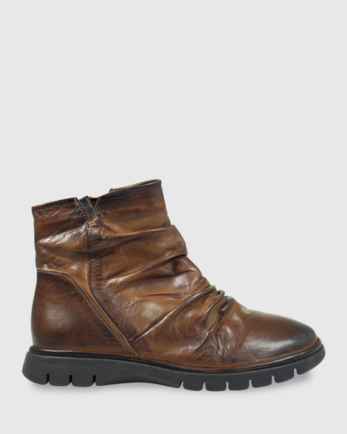 Erynn Brandy Leather Round Toe Slouch Ankle Boot. & Wittner & Wittner Shoes