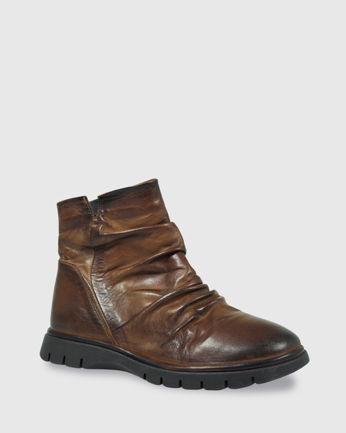 Erynn Brandy Leather Round Toe Slouch Ankle Boot.