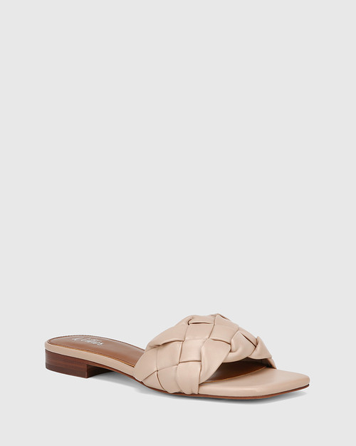 Artica New Flesh Woven Leather Flat Slide
