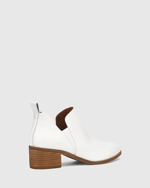 Ita White Leather Block Heel Gusset Ankle Boot & Wittner & Wittner Shoes