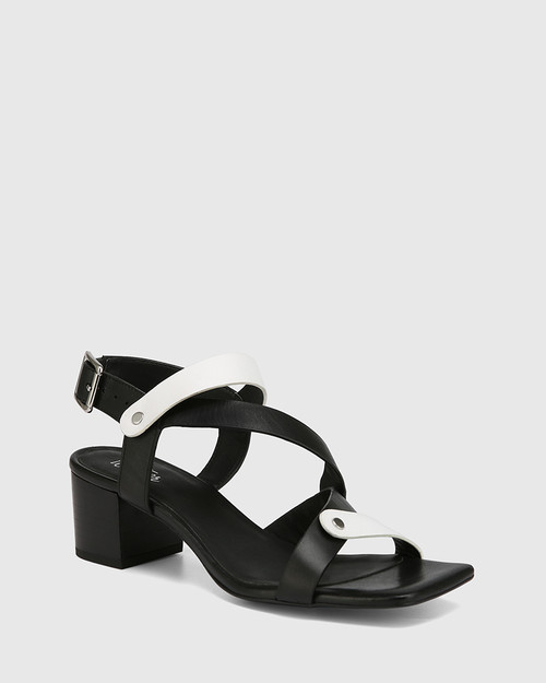 Illy Black and White Leather Block Heel Sandal