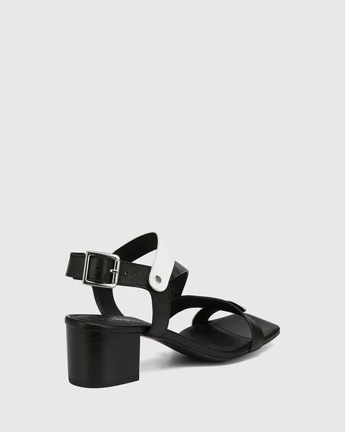 Illy Black and White Leather Block Heel Sandal & Wittner & Wittner Shoes