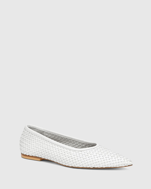 Braelyn White Woven Leather Pointed Toe Flat
