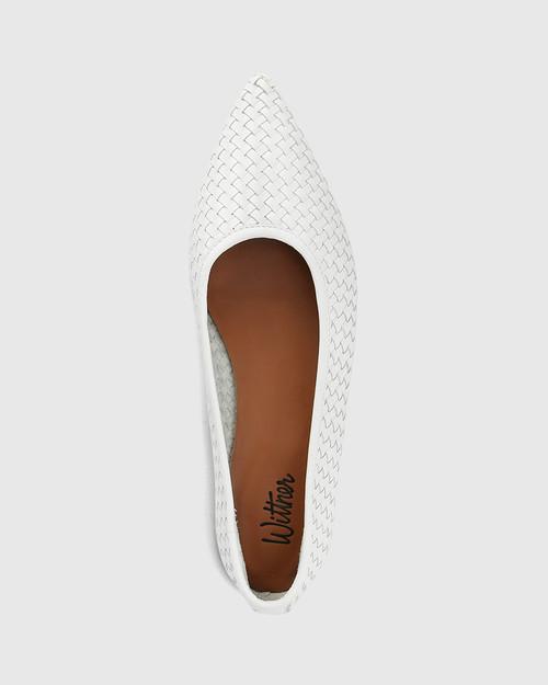 Braelyn White Woven Leather Pointed Toe Flat & Wittner & Wittner Shoes