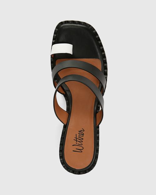 Rimmie Black and White Leather Block Heel Sandal & Wittner & Wittner Shoes