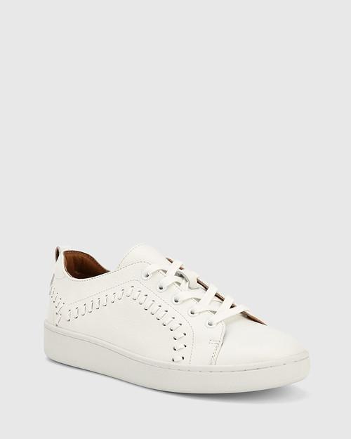 Gladstone White Leather Stitch Detail Sneaker.