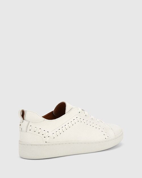 Gladstone White Leather Stitch Detail Sneaker