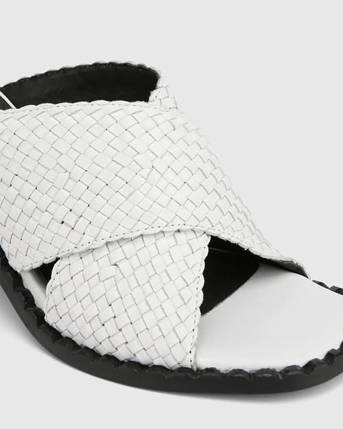 Razzie White Woven Leather Block Heel Sandal & Wittner & Wittner Shoes