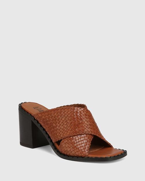 Razzie Tan Woven Leather Block Heel Sandal