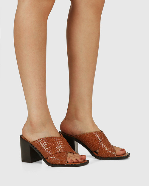 Razzie Tan Woven Leather Block Heel Sandal & Wittner & Wittner Shoes