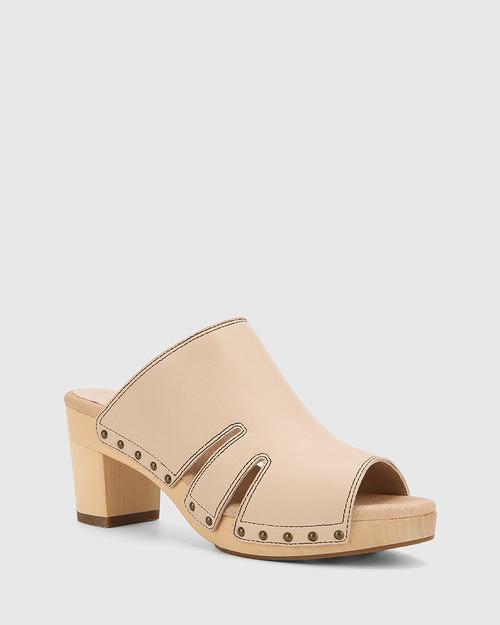 Kaley Musk Leather Wooden Block Heel Sandal.