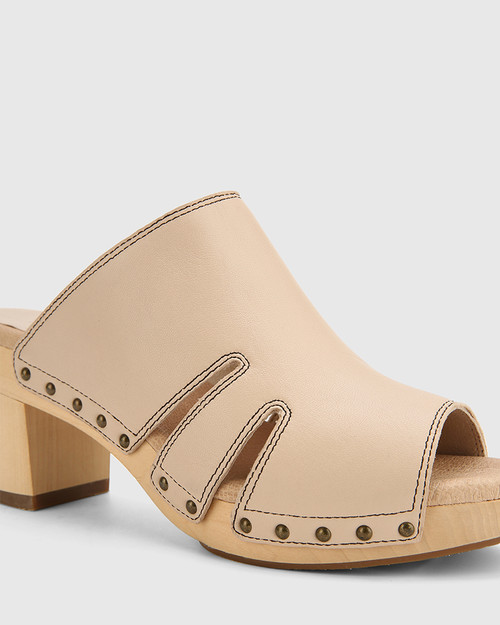 Kaley Musk Leather Wooden Block Heel Sandal. & Wittner & Wittner Shoes