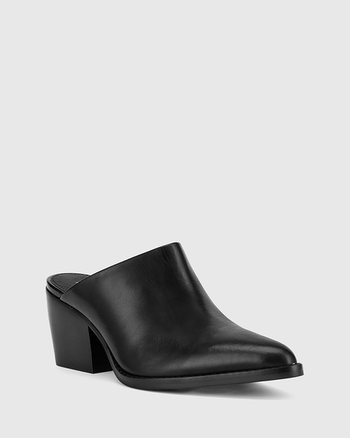 Kasey Black Nappa Leather Block Heel Mule.