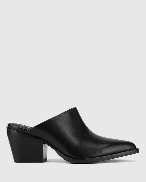 Kasey Black Nappa Leather Block Heel Mule