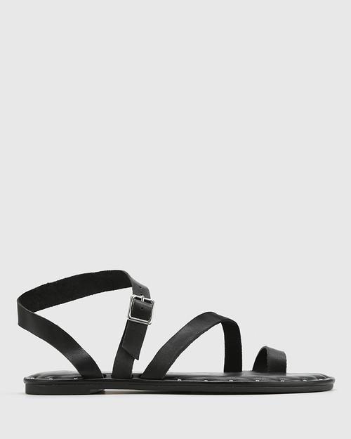 Fisher Black Leather Strap Flat Sandal. & Wittner & Wittner Shoes