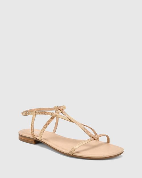 Cass Beige Python Print Leather Flat Sandal.