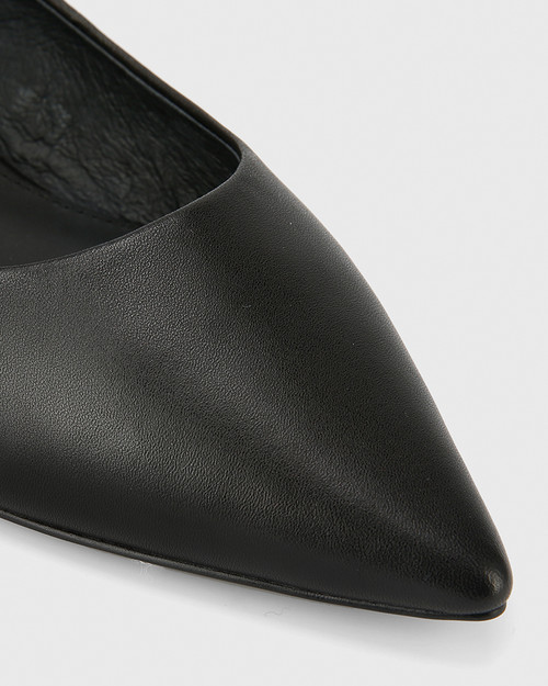 Marina Black Leather Pointed Toe Slip On Flat. & Wittner & Wittner Shoes