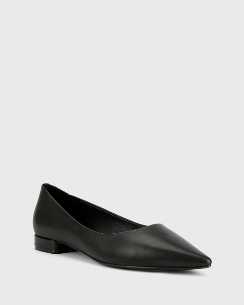 Marina Black Leather Pointed Toe Slip On Flat.