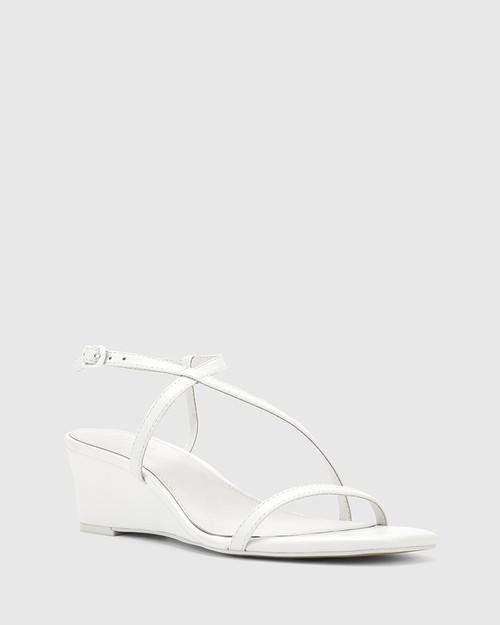 Decker White Nappa Leather Wedge Heel Sandal.