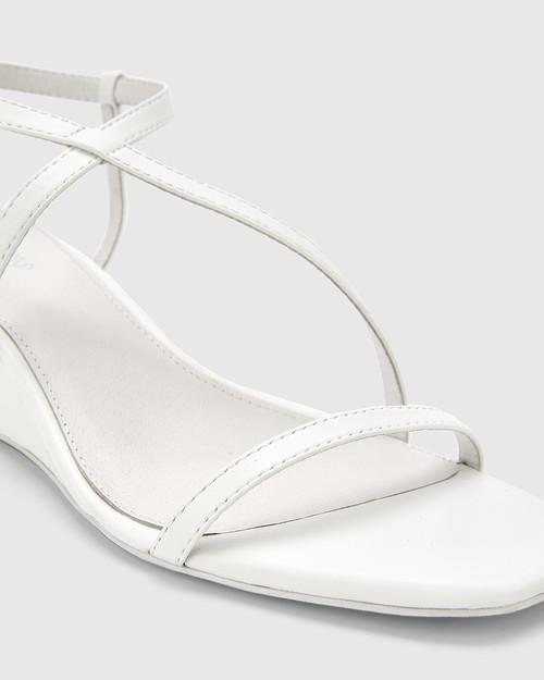 Decker White Nappa Leather Wedge Heel Sandal. & Wittner & Wittner Shoes