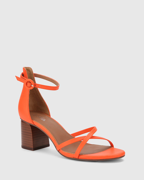 Nakita Papaya Leather Curve Heel Sandal.
