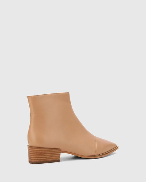 Cade Desert Beige Leather Snib Toe Ankle Boot. & Wittner & Wittner Shoes