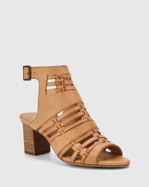 Nicolae Toffee Leather Open Toe Block Heel.
