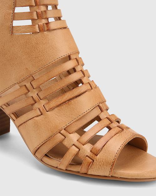 Nicolae Toffee Leather Open Toe Block Heel. & Wittner & Wittner Shoes