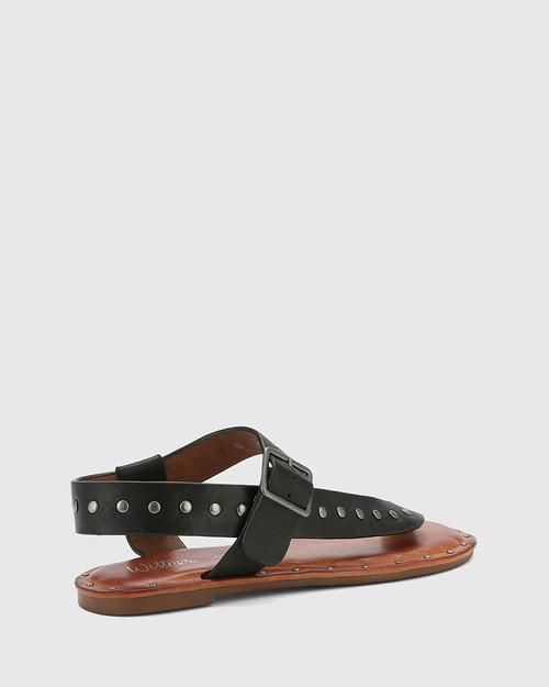 Flint Black Leather Stud Flat Sandal. & Wittner & Wittner Shoes