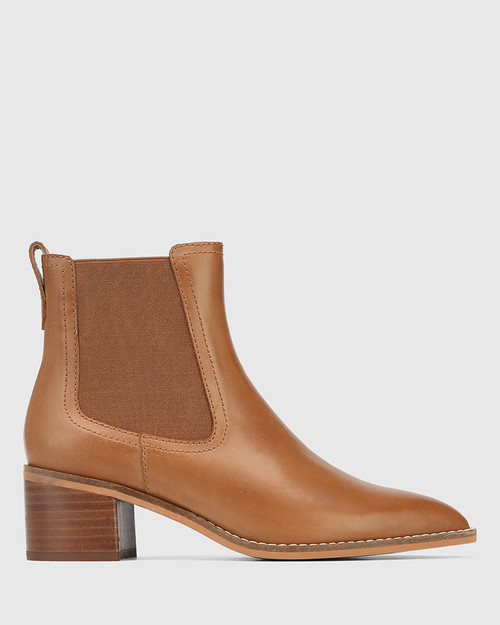 Jenae Cognac Leather Elastic Gusset Ankle Boot